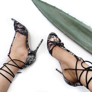 Jimmy choo phython lace up heel